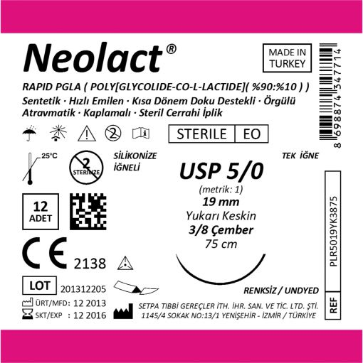Neolact Rapid PGLA Suture Box Label