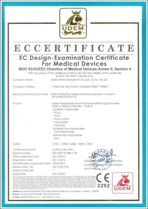 SETPA NEO SURGICAL SUTURES CE DESIGN EXAMINATION CERTIFICATE